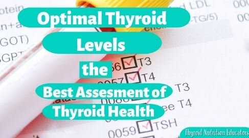 "Test Tube on Thyroid List of Tests with words ""Optimal Thyroid Levels the best assessment of thyroid health"" 