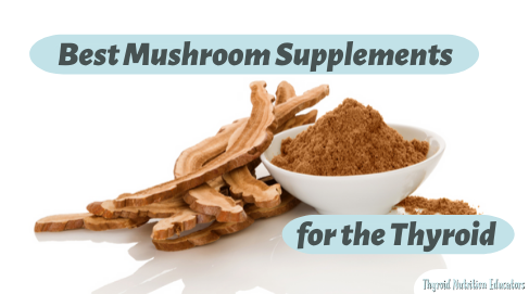 Best Mushroom Supplements for the thyroid Photo of Dry reishi powder and dried reishi mushroom in a white bowl with white background | Thyroid Nutrition Educators