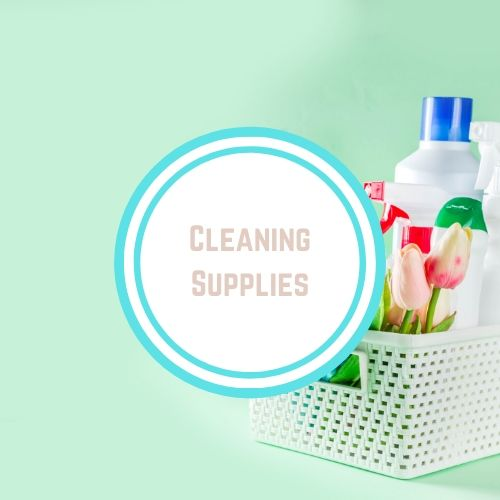 "Reducing toxins in thyroid with the Words ""Cleaning Supplies"" against a photo of a box of cleaning supplies 