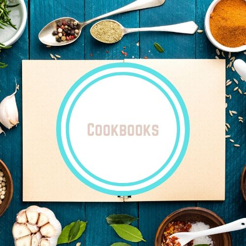 "Thyroid resources with theWords ""cookbook"" on top of white blank book open surrounded by spoons and spices 