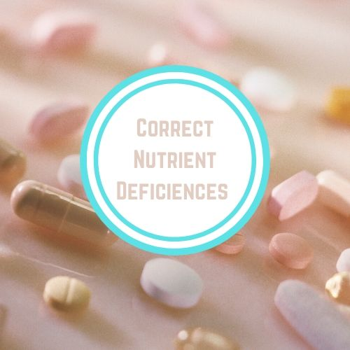 "Thyroid resources with theWords ""Correct Nutrient Deficiencies"" Against Pink Backdrop with Supplements 