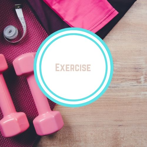 "Thyroid resources with theWords ""Exercise"" against a backdrop of pink weights and a pink matt 