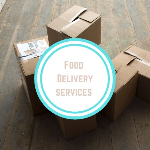 "Thyroid resources with theWords ""Food Delivery Services"" against a photo of cardboard shipping boxes 