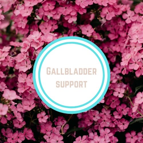 "Thyroid Resources with the words ""Gallbladder Support"" Against a Backdrop of pink flowers