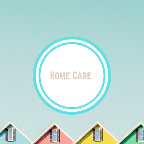 "Reducing toxins in thyroid with the Words say ""home care"" against a photo of the roofs of colorful houses 