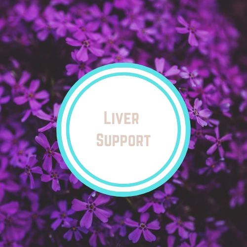 "Thyroid Resources with the words ""Liver Support"" Against a Backdrop of dark purple flowers