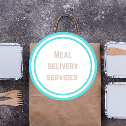 "Thyroid resources with the Words ""meal delivery service"" on top of a photo of take out containers and a paper bag 