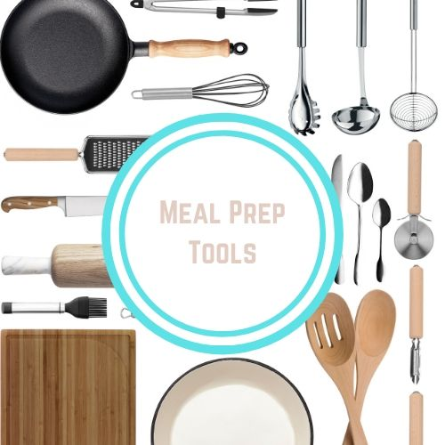 "Thyroid resources with theWords ""Meal Prep Tool"" in a white and blue circle against a background of various kitchen tools spoons, cutting boards, frying pans 