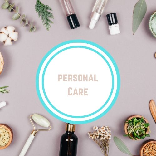"Reducing toxins in thyroid with the Words saying ""personal care"" against a photo of essential care items 
