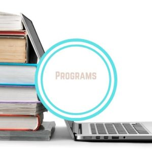 "Computer and Stack of books with workds ""Program"" Pink in a White Circle Thyroid Nutrition Program with Words ""programs"" on top of a photo of a laptop and books stacked 