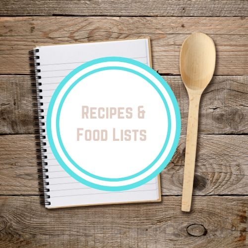 "Thyroid Resouces with Words ""Recipes and Food Lists"" On top of a photo with a white notebook and a wooden spoon on a wooden table 