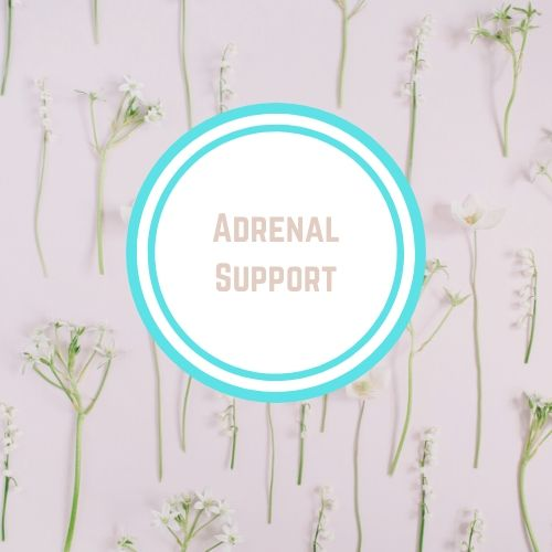 "Thyroid Resources with the words ""Adrenal Support"" Against a Backdrop of flowers