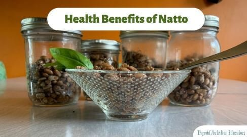 "Bowl of brown natto beans in a clear glass bowl with three glass jars of natto beans behind it against a orange wall with the words ""health benefits of natto"" in green against a white background How to Make Natto + Health Benefits 