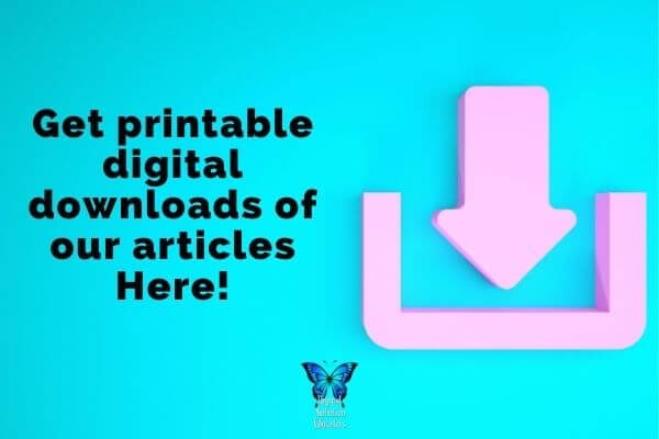 "Blue background with pink letters saying ""Get Printable Downloads of Our Articles Here"" 