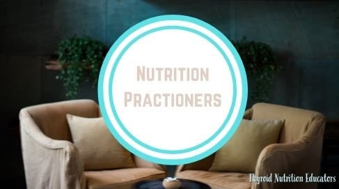 """Two couch chairs facing each other with a blue and white circle on top of the photo with the words """"nutrition practioners"""" on it in brown 